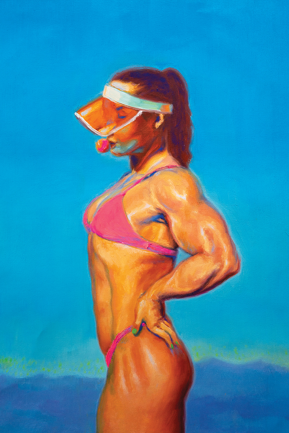 a muscular woman wearing a pink bikini and sun visor while blowing a bubble with gum