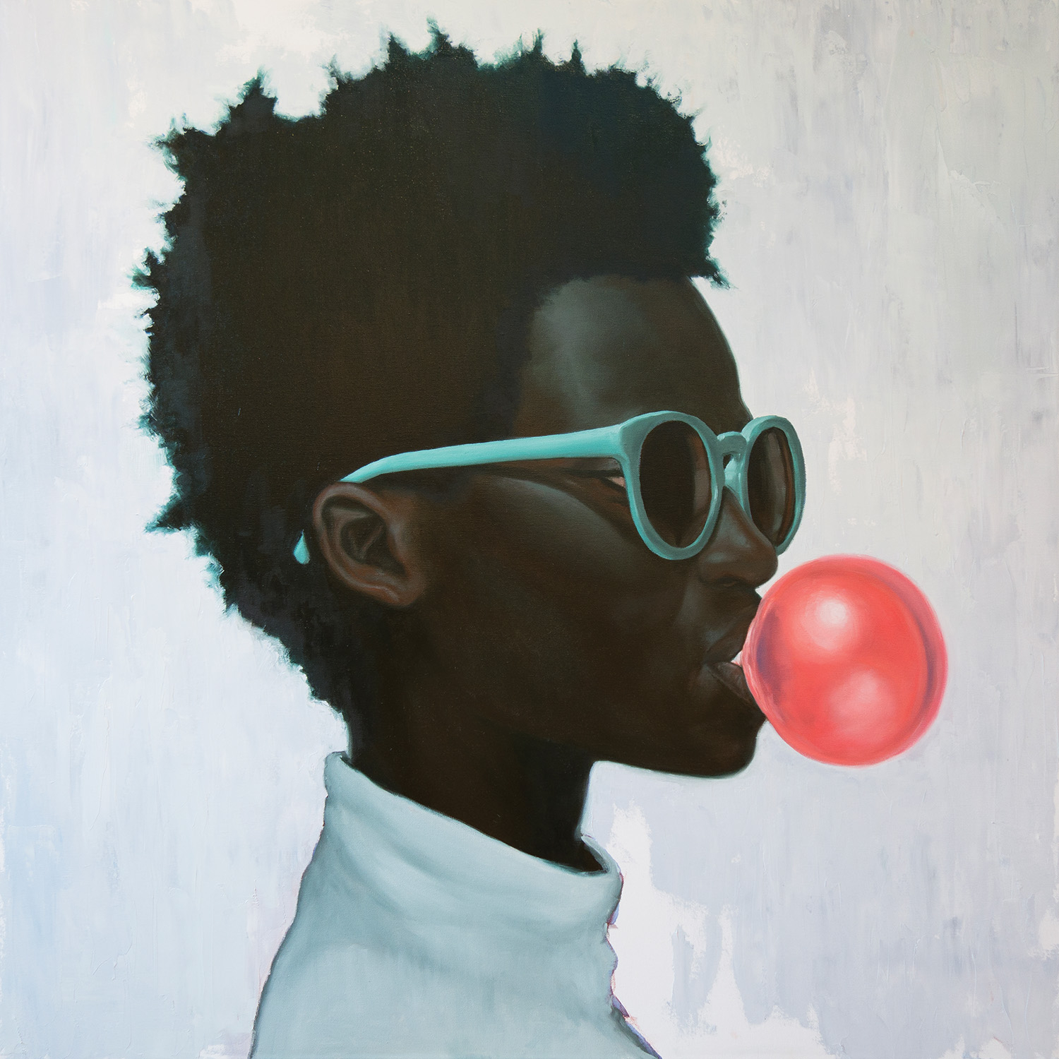 a person wearing blue sun glasses and turtleneck while blowing a bubble with gum