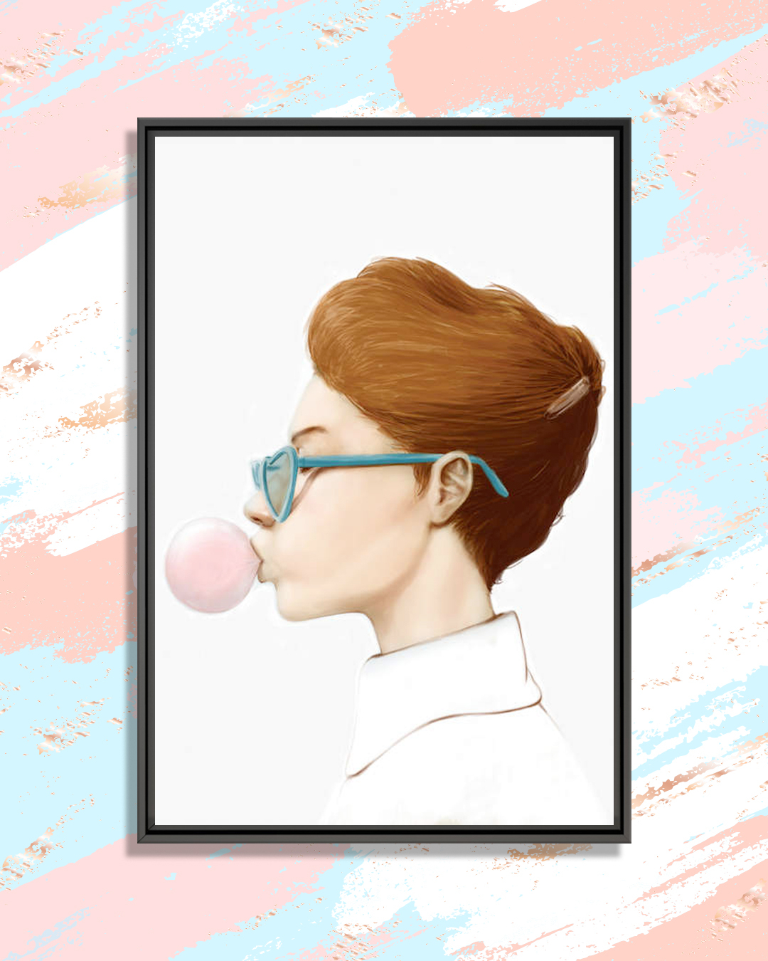 a profile of a woman wearing a white collared shirt and blue heart-shaped glasses blowing a bubble with gum
