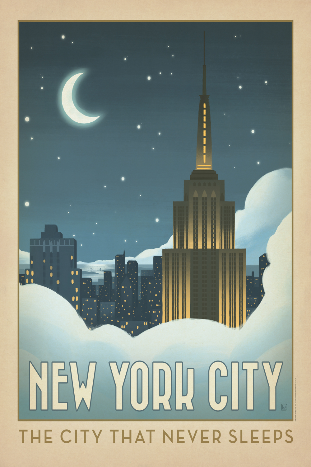 """a poster print showing the new york skyline a night with the moon that says """"the city that never sleeps"""""""
