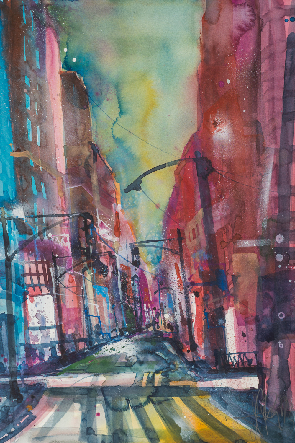 a watercolor of a new york street with colorful buildings