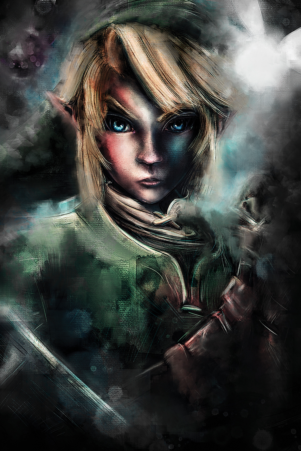 a portrait of link with dramatic shadows and lighting