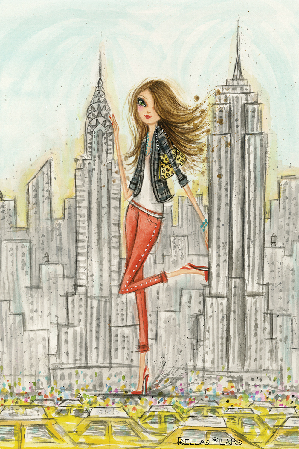 giant woman in red heels and pants standing alongside new york skyline with taxi cabs in view