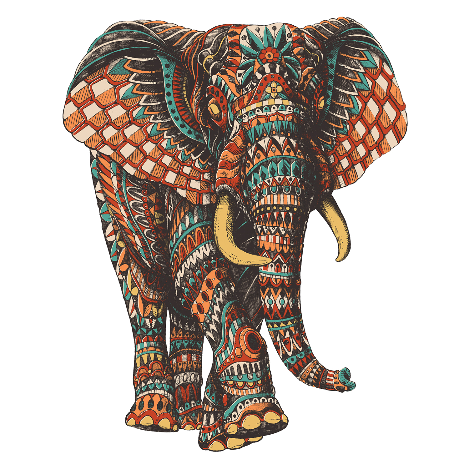 a walking elephant with tusks with an intricate design with the colors orange, red, teal, gold, and black