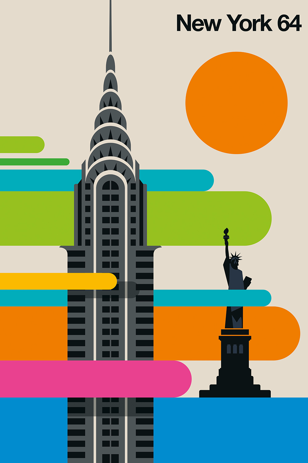 "a print that says ""new york 64"" with green, blue, orange, and pink graphics and the chrysler building and statue of liberty"