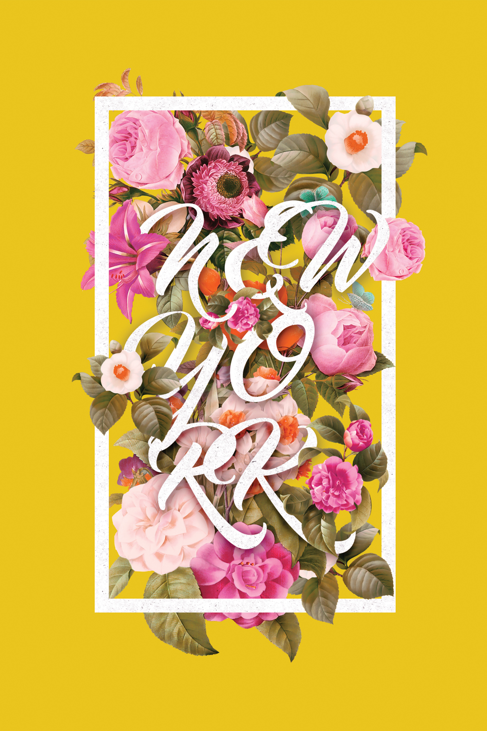 "the words ""new york"" surrounded by flowers within a white rectangle on a yellow background"