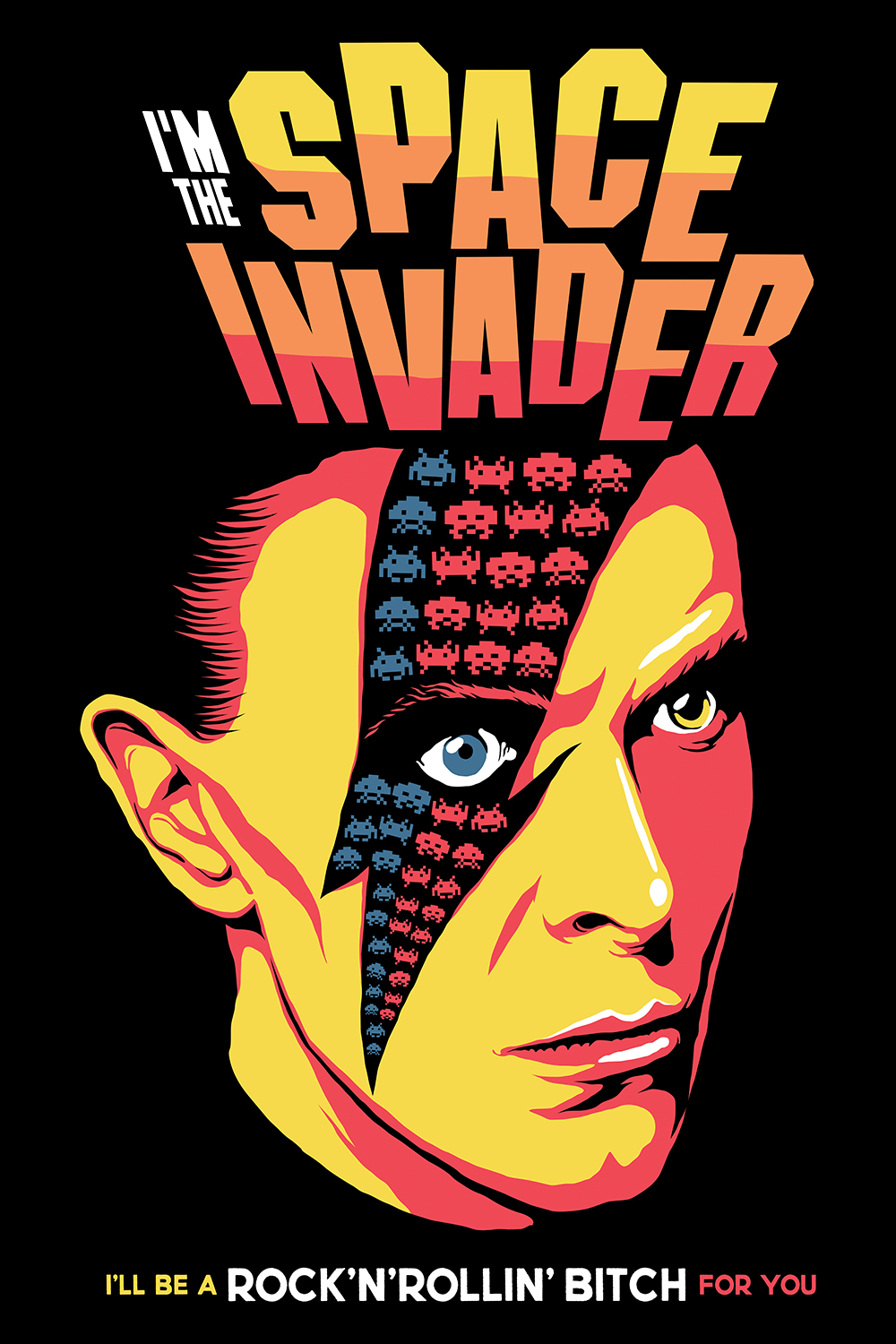 a poster using imagery from the game space invader using david bowie's face