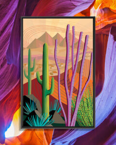 a colorful desert scene with green, teal, and purple cacti