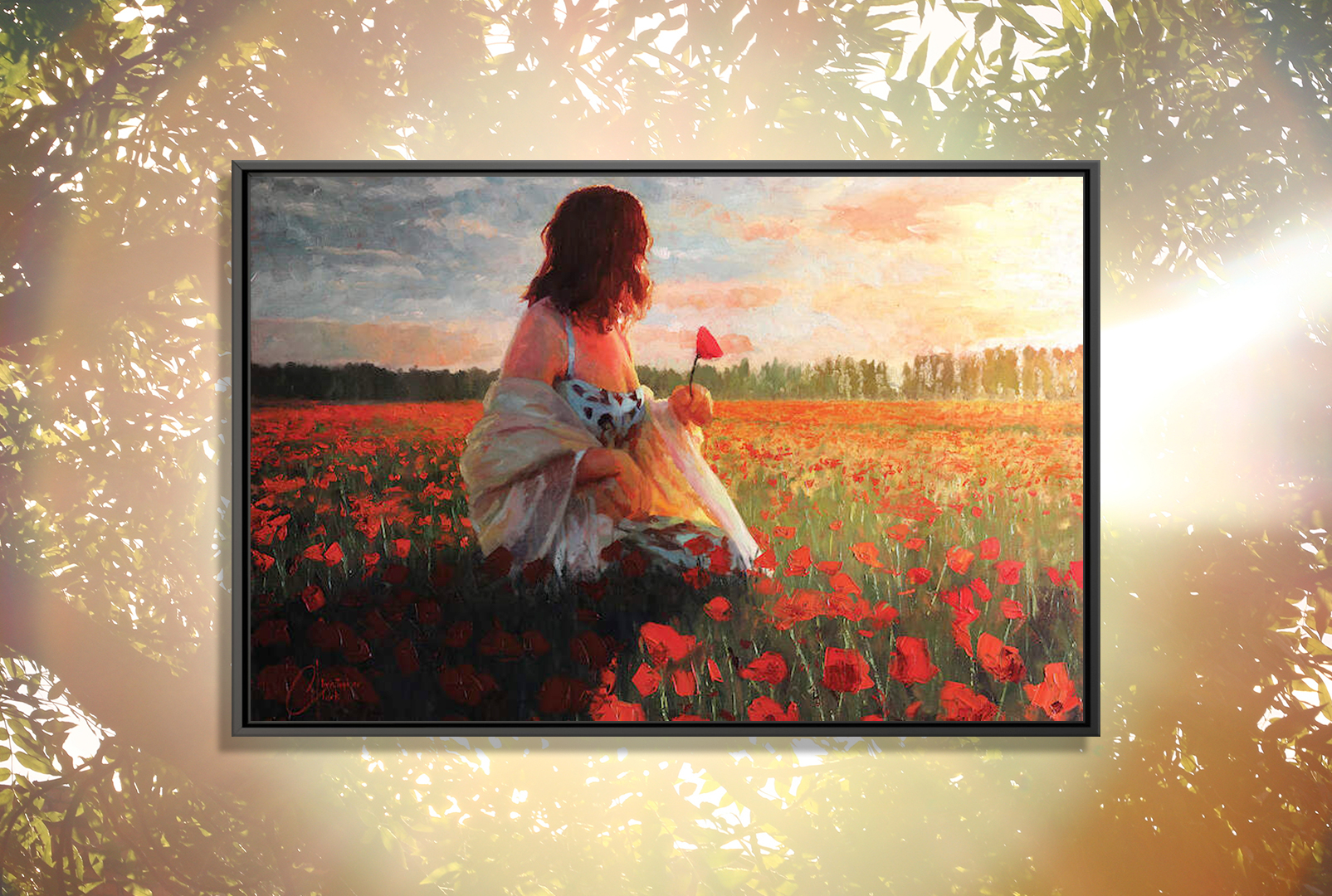woman wearing a dress with shall sitting in field of poppies at sunset while looking away