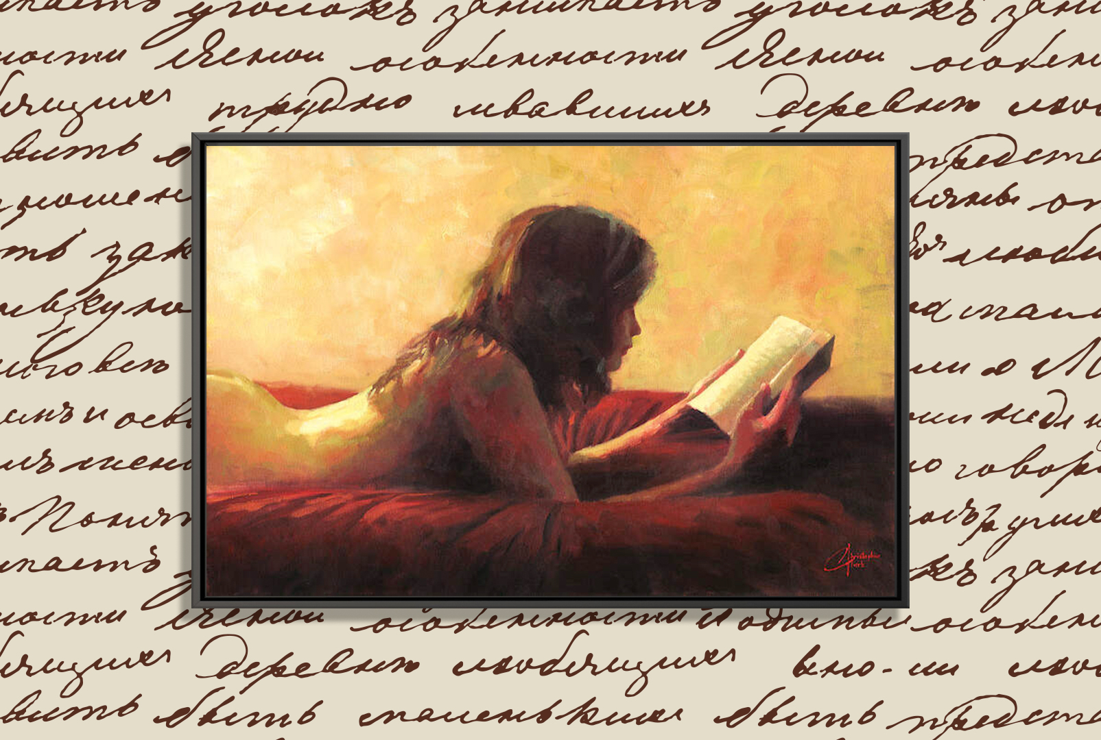 woman laying on a red bed reading a book