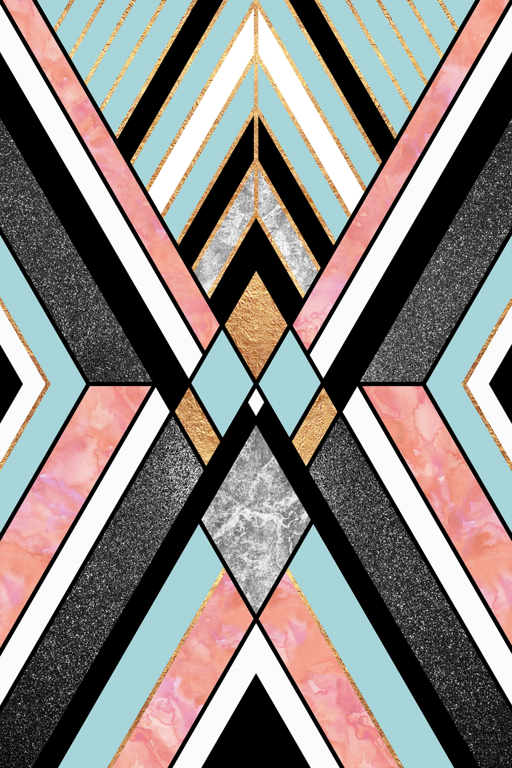 a symmetrical geometric print featuring gray, black, pink, gold, and blue