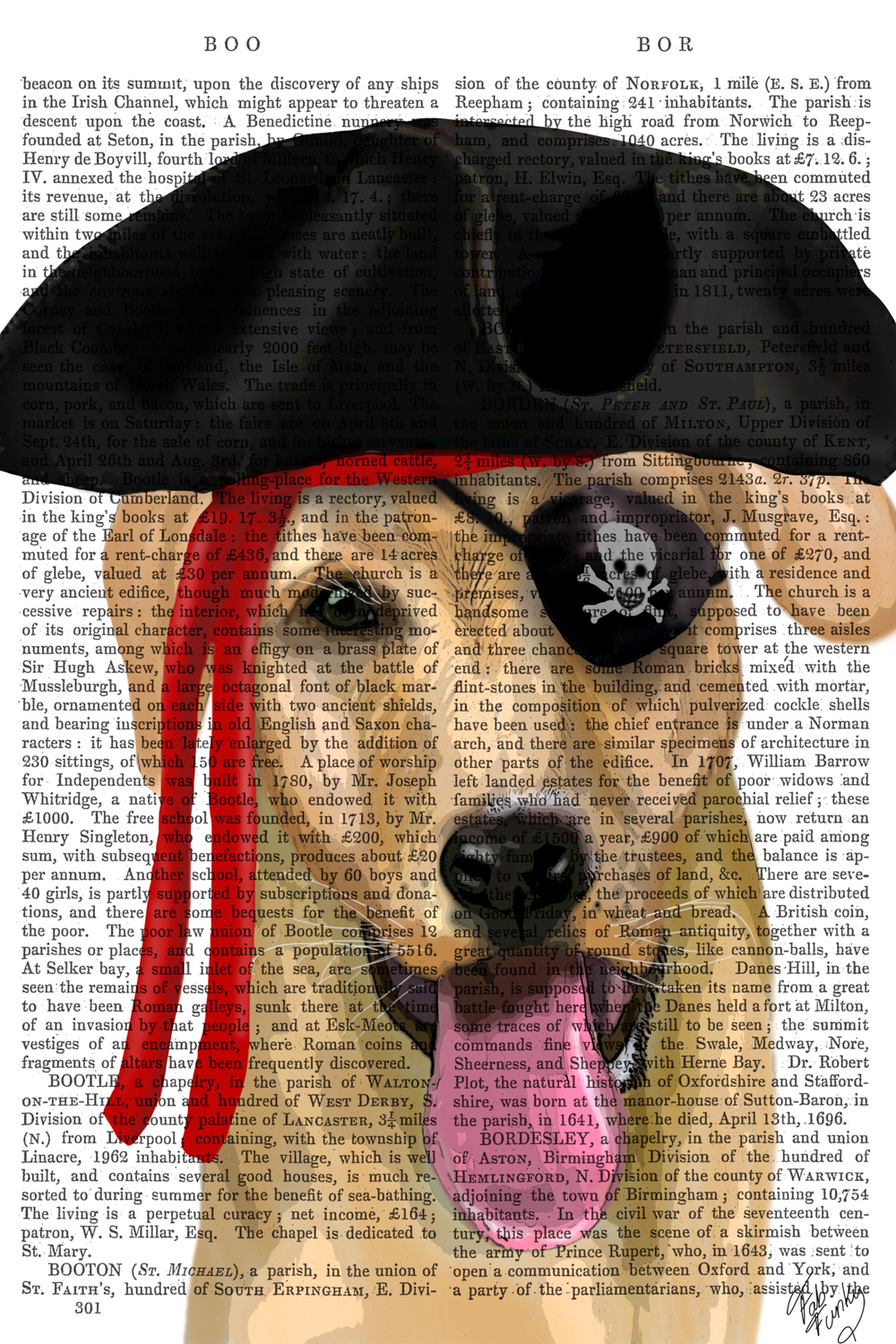 a yellow lab with their tongue out wearing an eye patch and pirate hat on a page of printed text