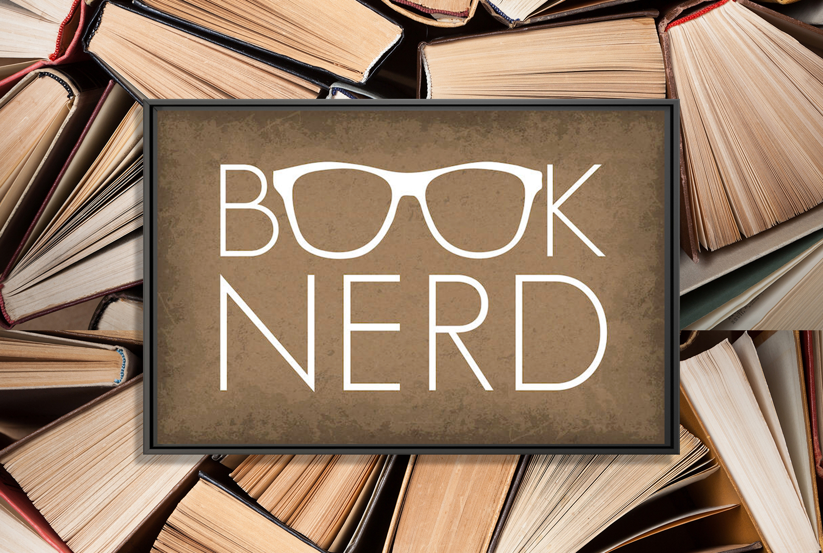 "the words ""book nerd"" in white with the two o's in book being made from a pair of glasses"