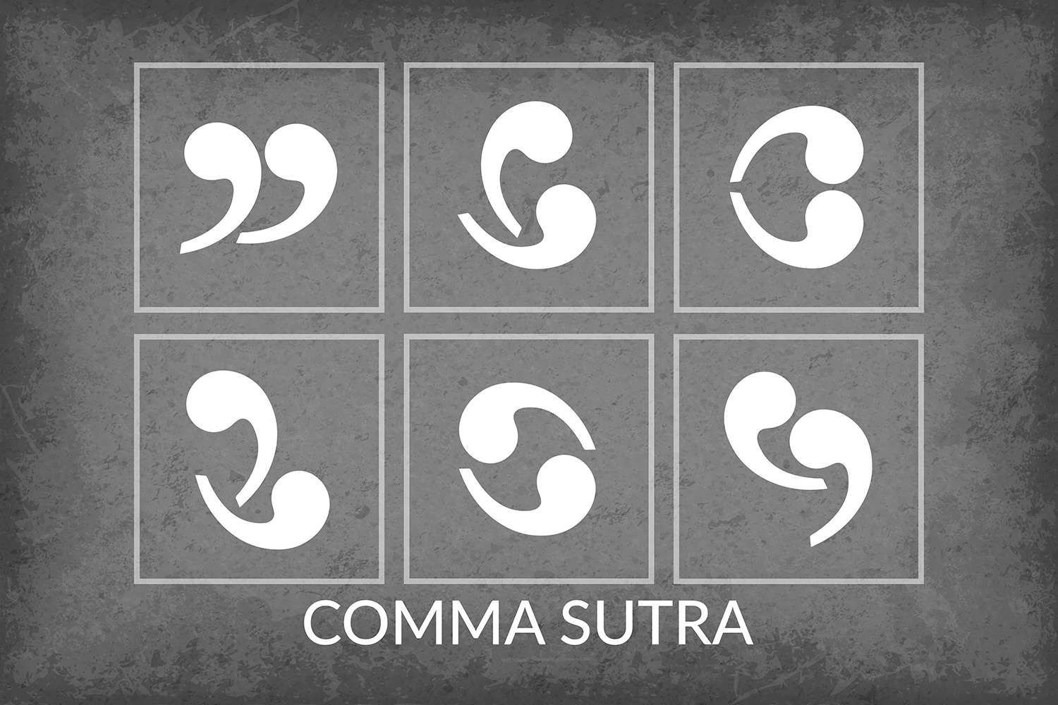 six images featuring two commas embracing as if it were kama sutra