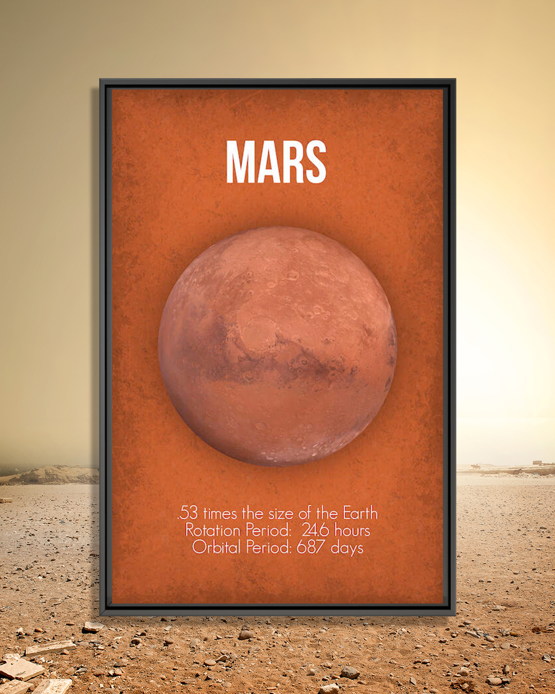 a red print showing the planet mars with it's name and planet facts included