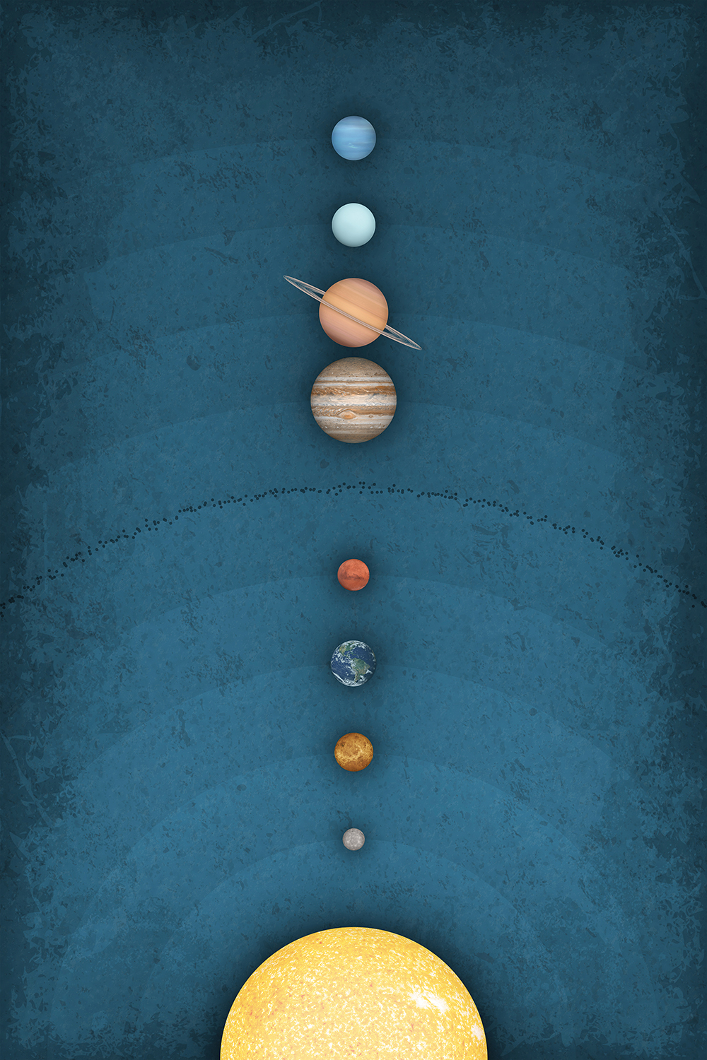 showing the sun, all eight planets, and an asteroid belt in a row
