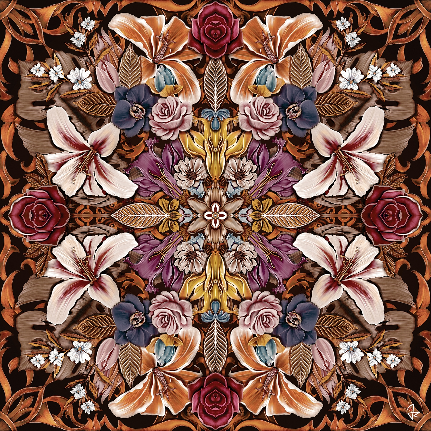 a kaleidoscope print full of flowers in gold, purple, pink, and maroon