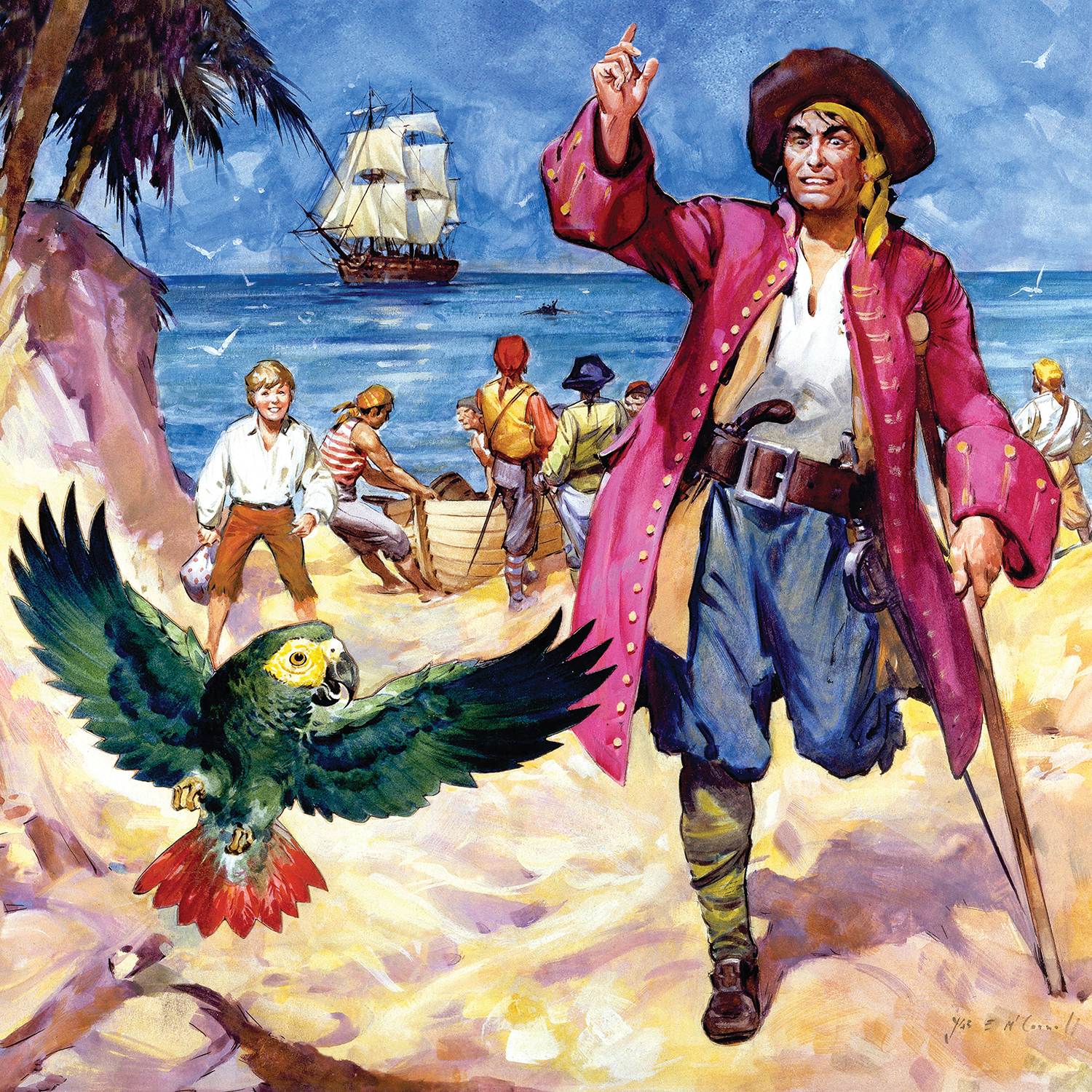 long john silver standing on a beach looking at his parrot with pirates and a ship behind him