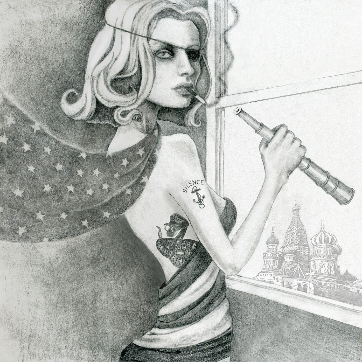 woman wearing an eye patch who's smoking and has an anchor tattoo on her arm is holding a telescope while standing near a window