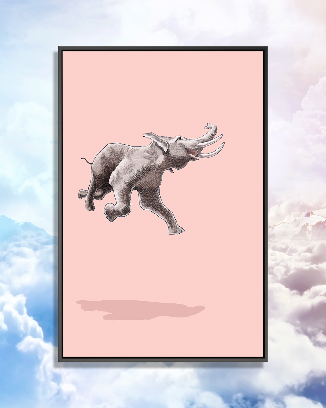 a joyous elephant leaping through the air on a pink background