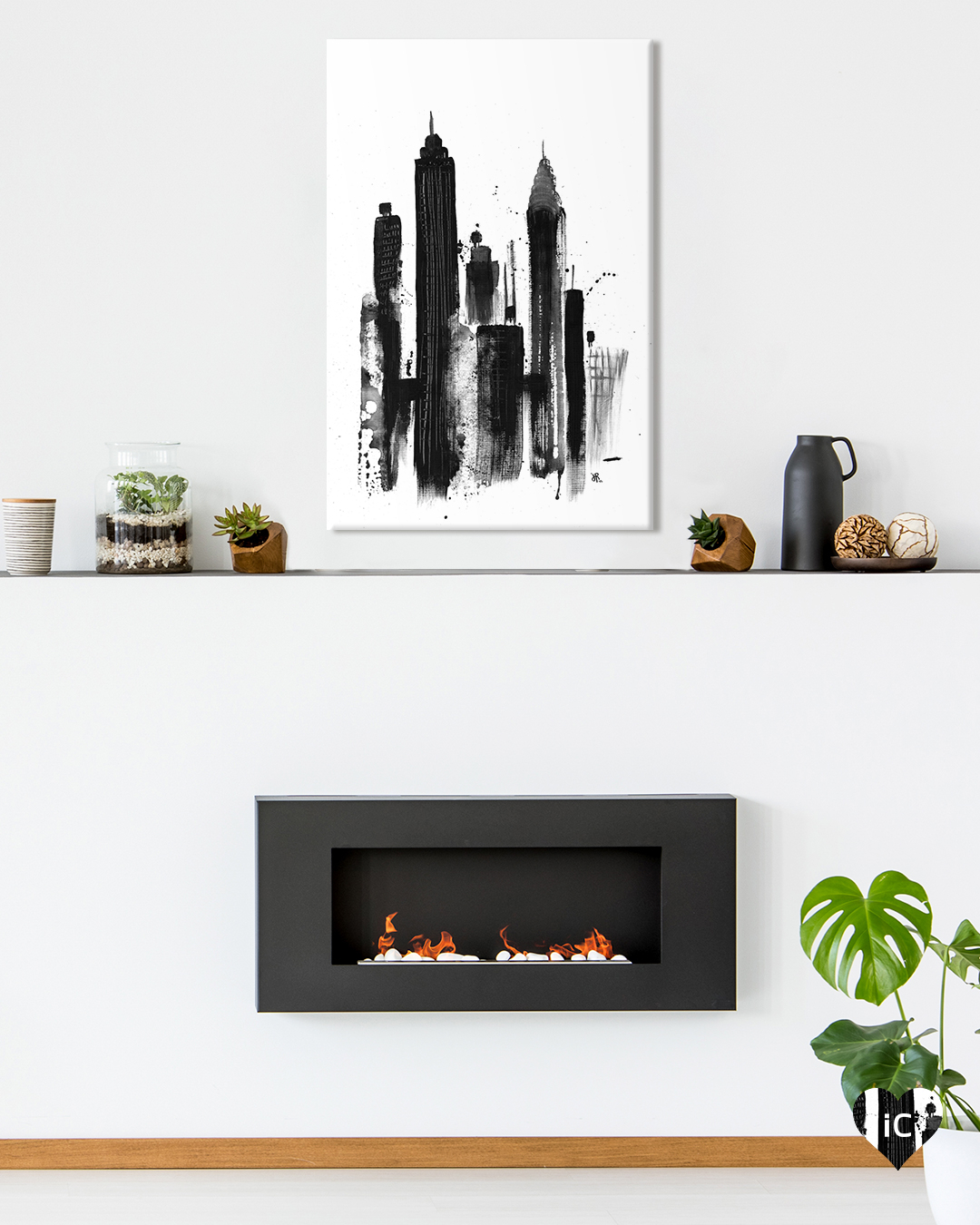 an all black painted version of new york city's skyline with crysler and empire state building