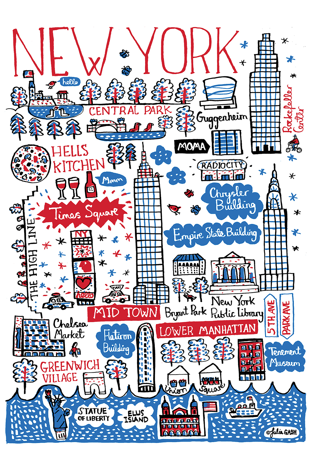 a print in red, blue, and white that shows various new york locations including the guggenheim, greenwich village, hells kitchen, ellis island, and times square