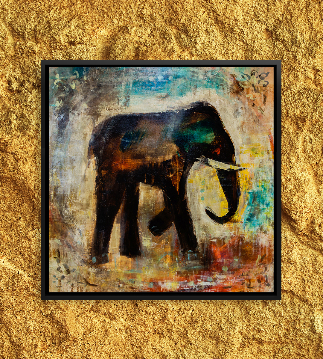 painting of an elephant with tusks that looks like a cave drawing