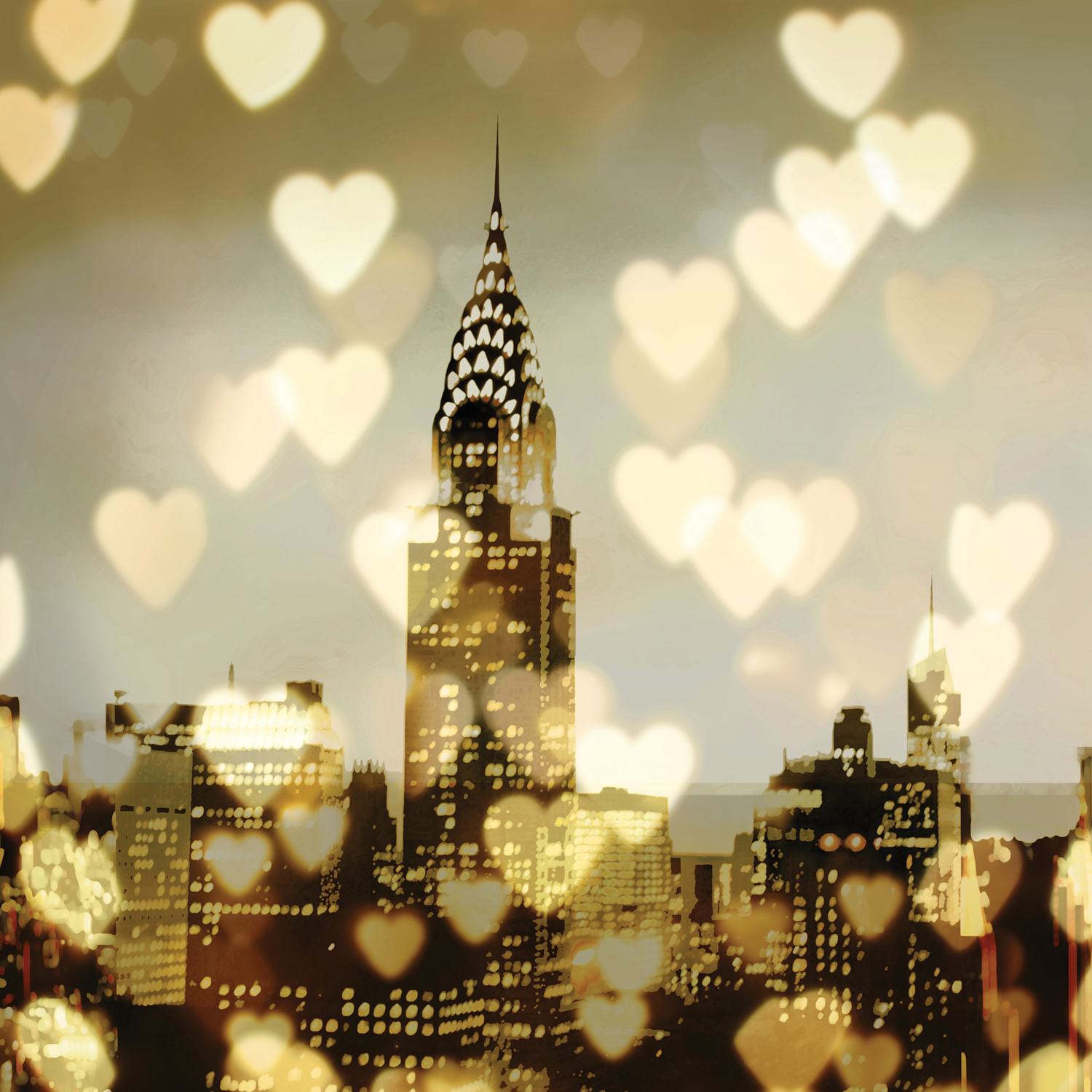 view of chrysler building in new york with skyline and many small hearts throughout the print