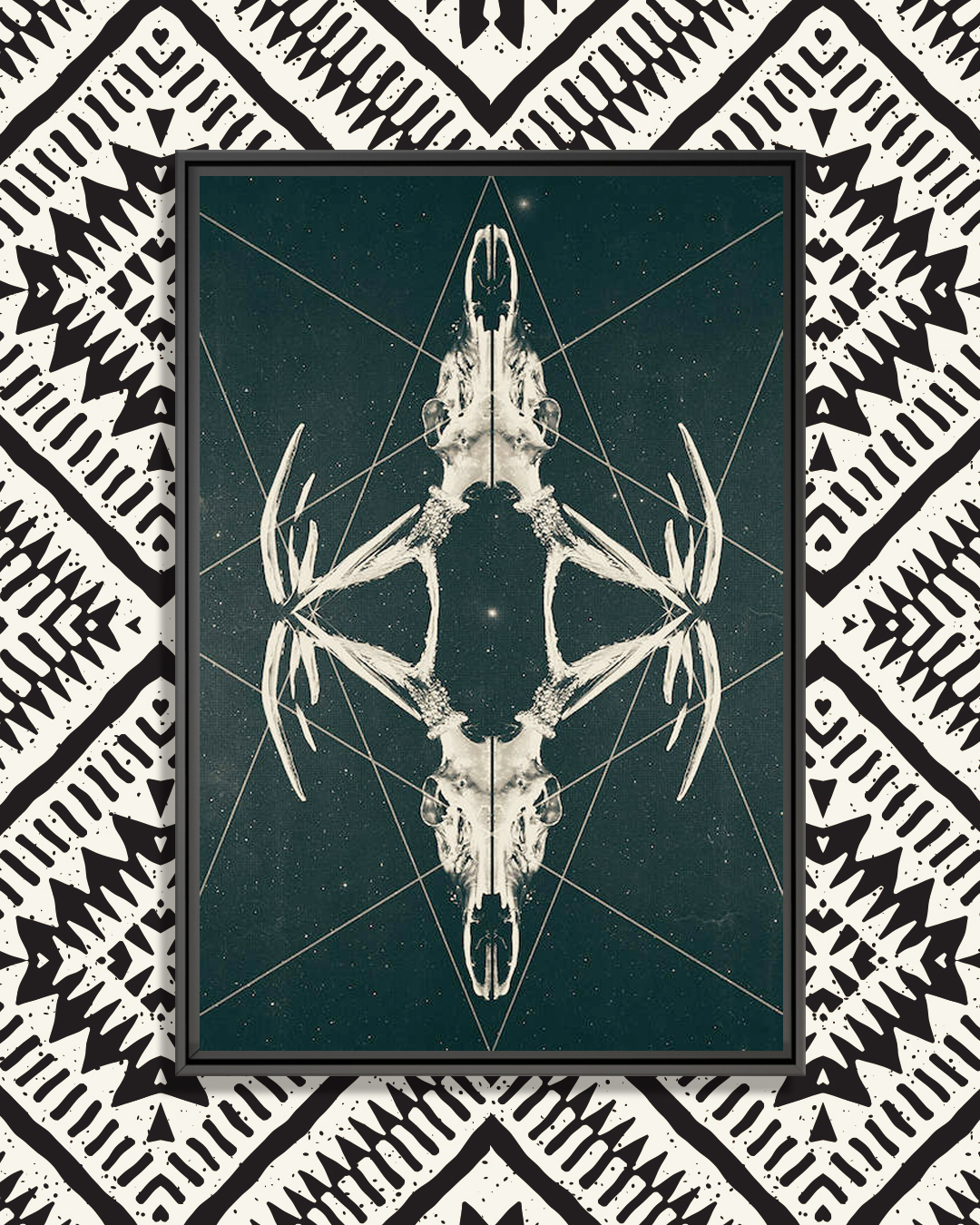 two deer skulls with geometric line shapes and stars in the background