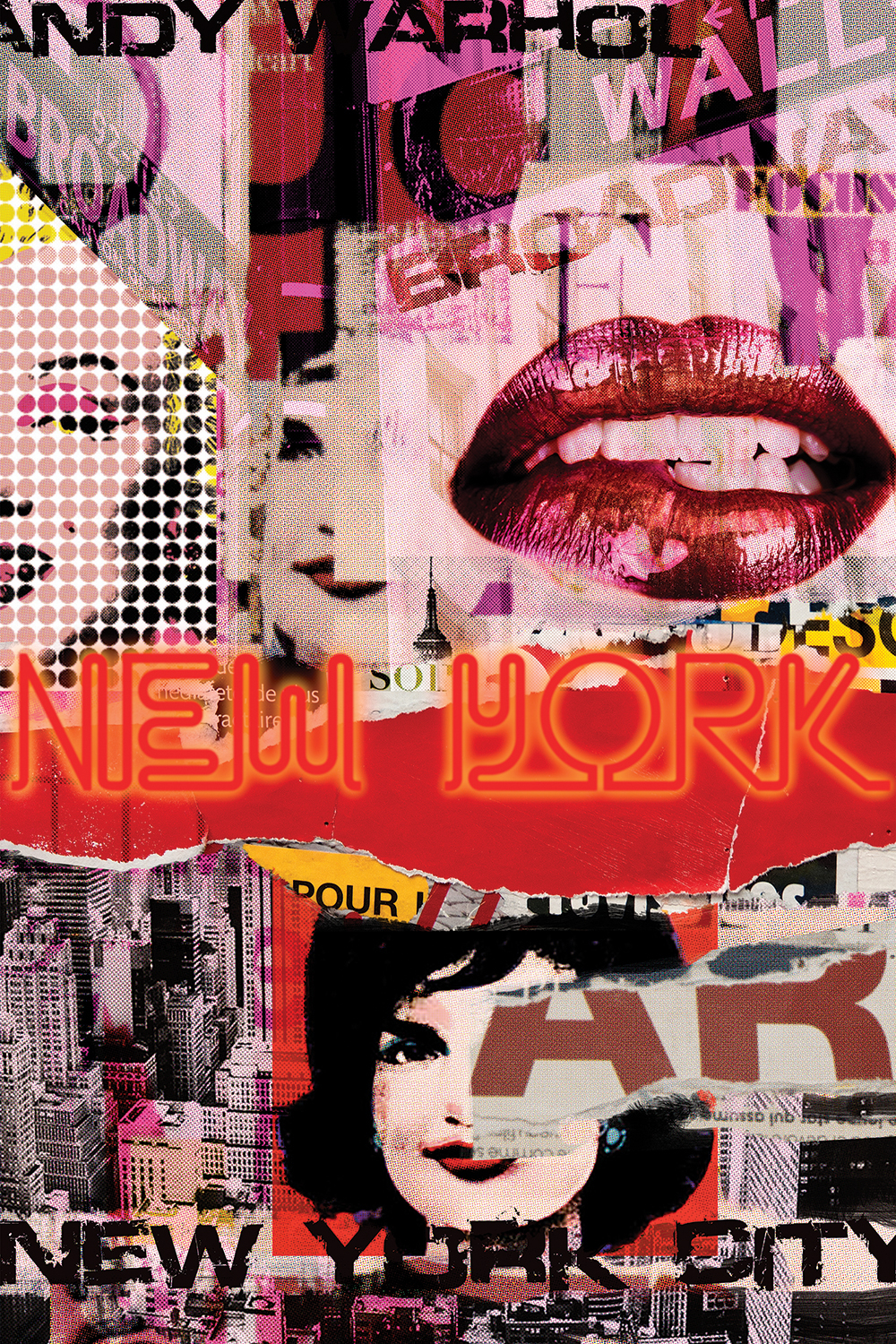"a collage of images including lips, jackie kennedy, and marilyn monroe as well as skylines, broadway and wall street signs, and the words ""new york city"" and ""andy warhol"""