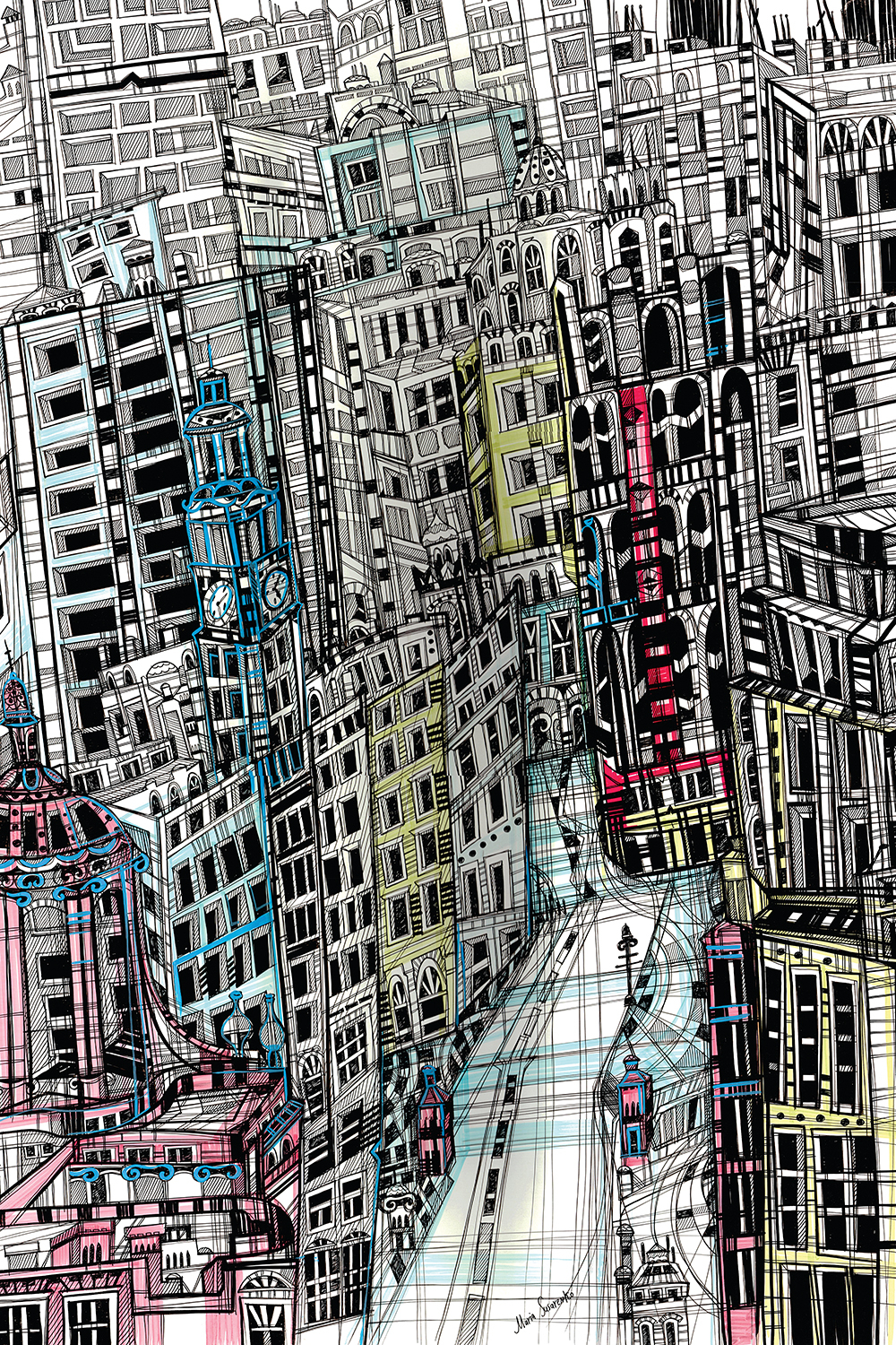 a drawing of buildings in new york that shows a very congested urban city life
