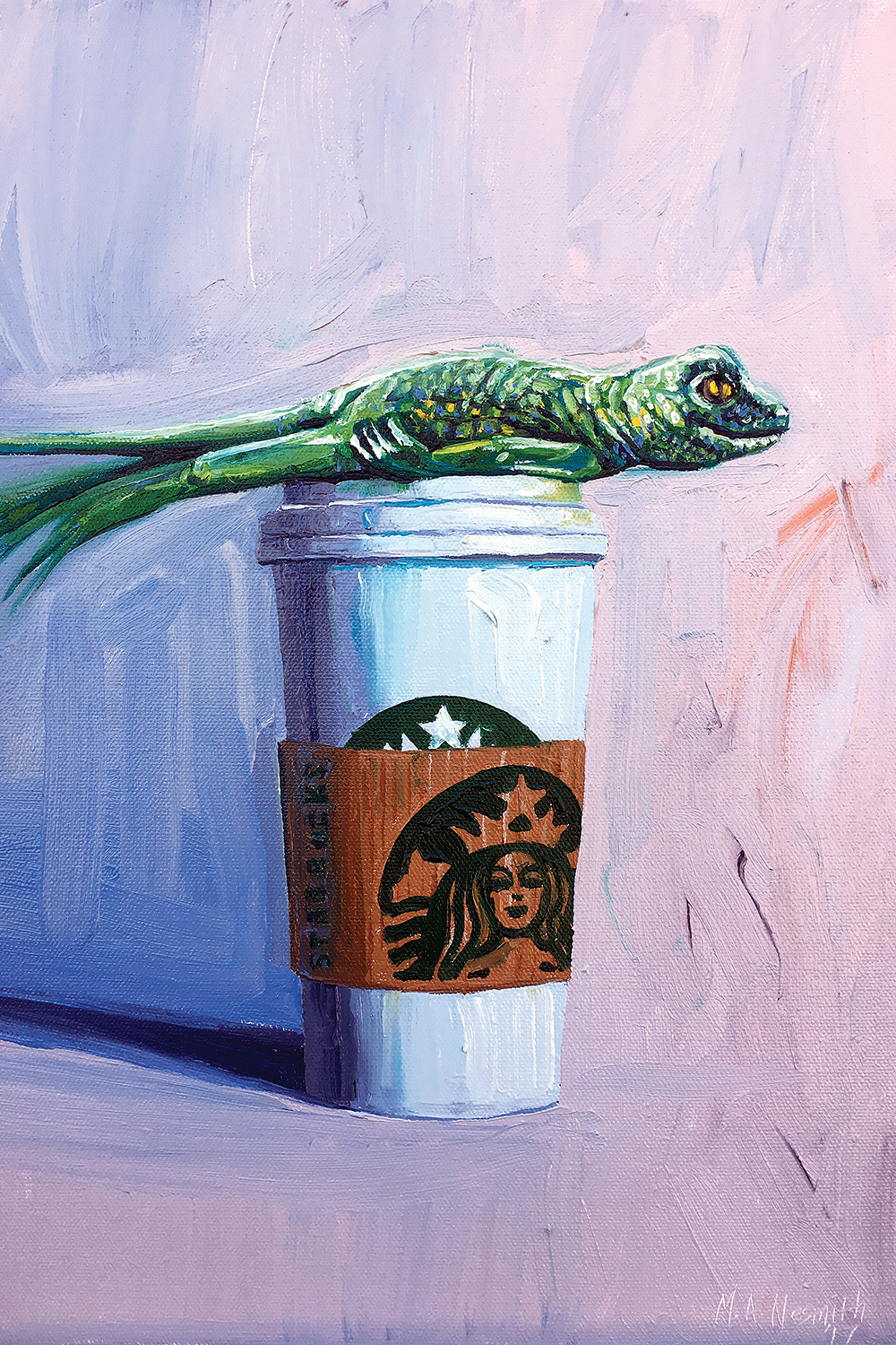a green lizard planking on top of a venti starbucks cup
