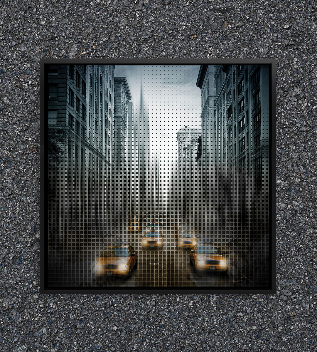 a print showing many cabs driving towards you down a new york street with square textures