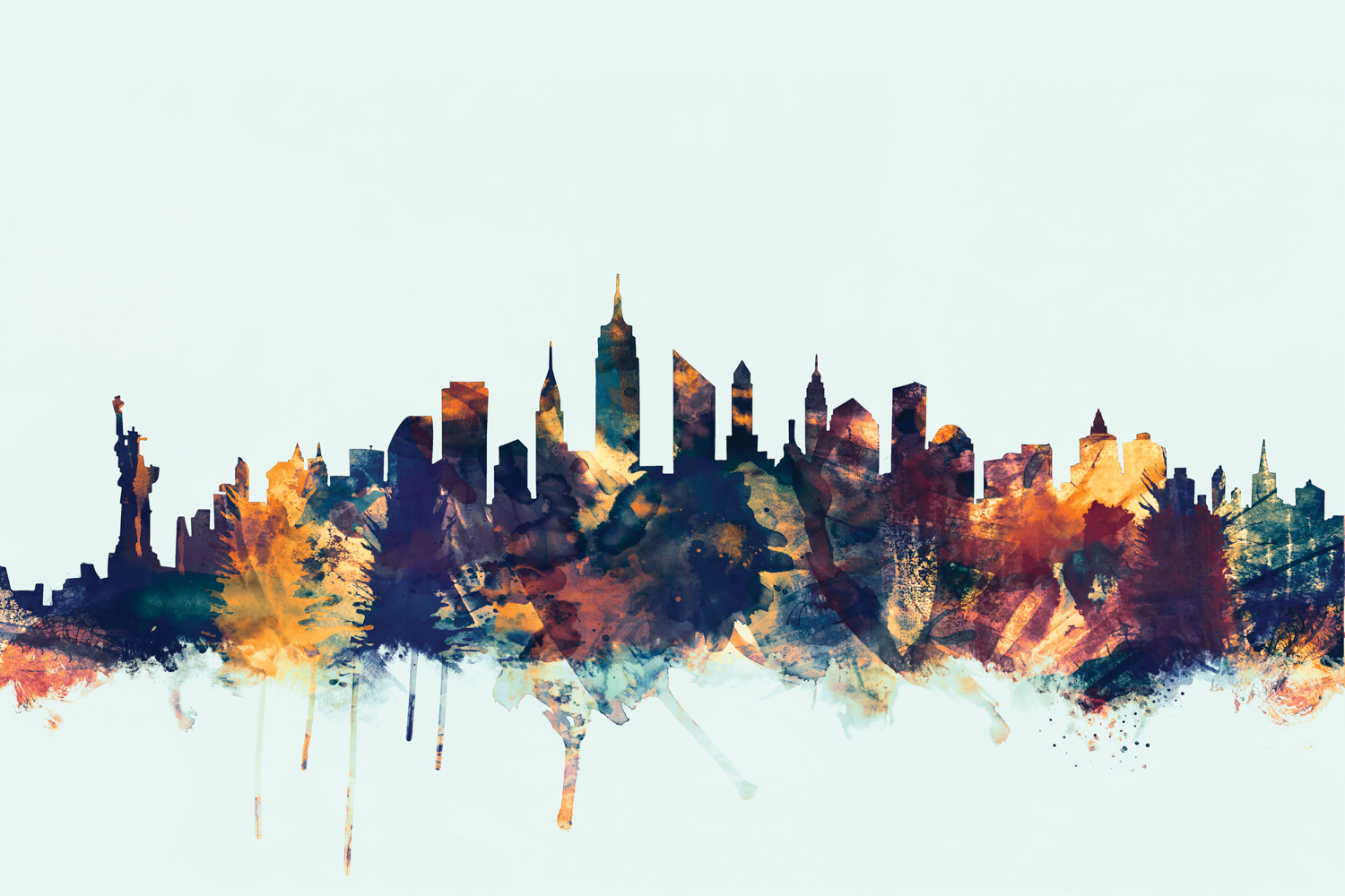new york city skyline including empire state building and statue of liberty in golds, maroons, and teals