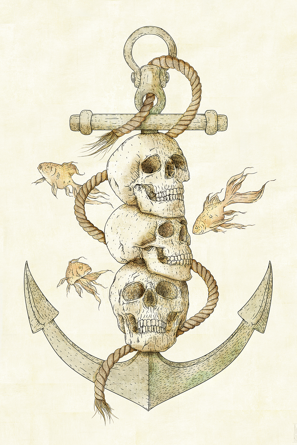 three skulls stacked on an anchor with fish swimming around them