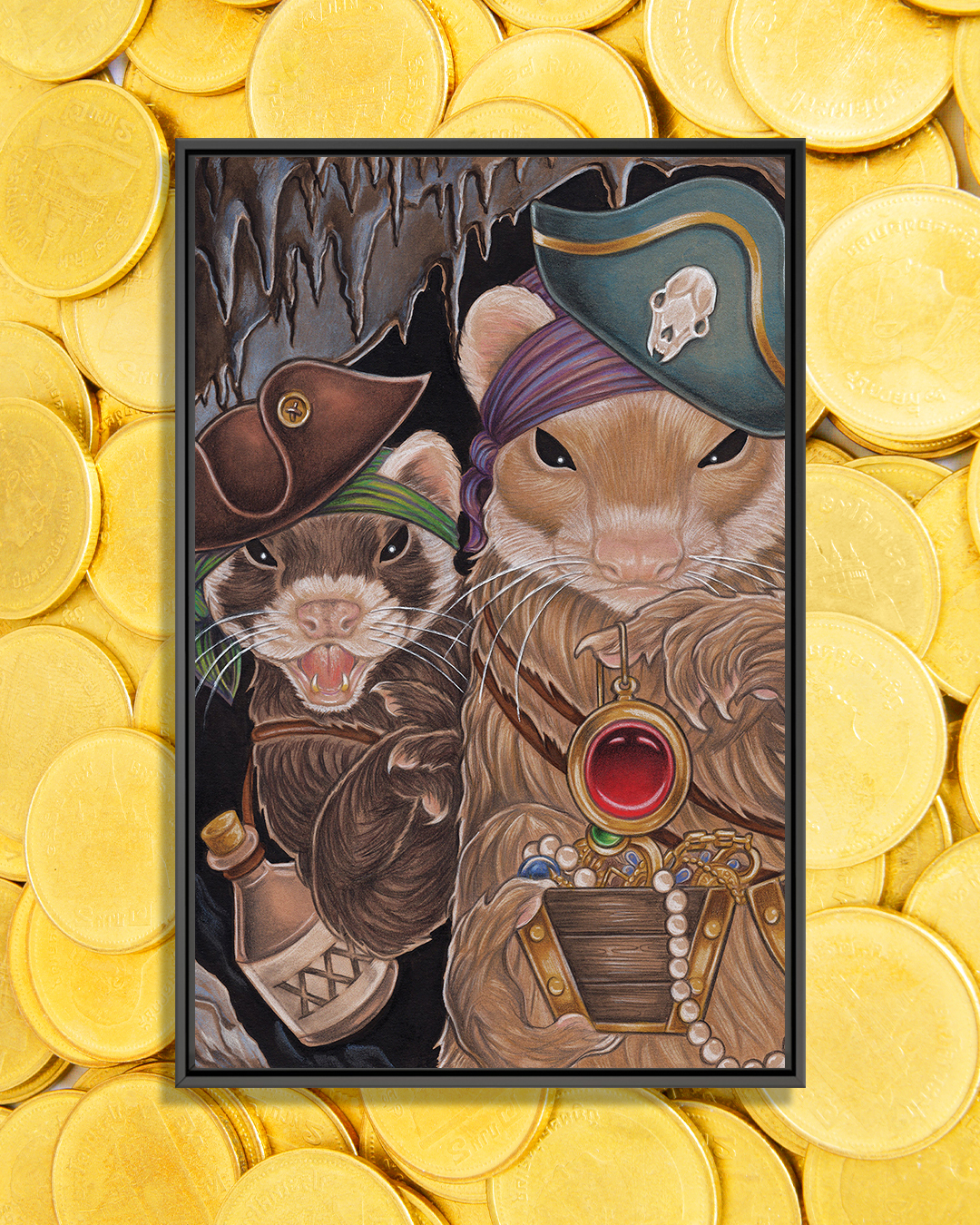 two ferrets wearing pirate hats holding treasure and booze in a cave