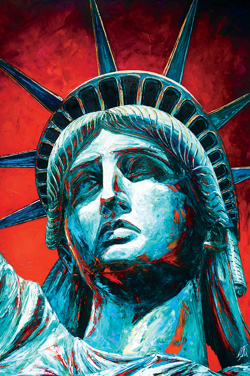 a close up portrait of the statue of liberty's face with a bold red background
