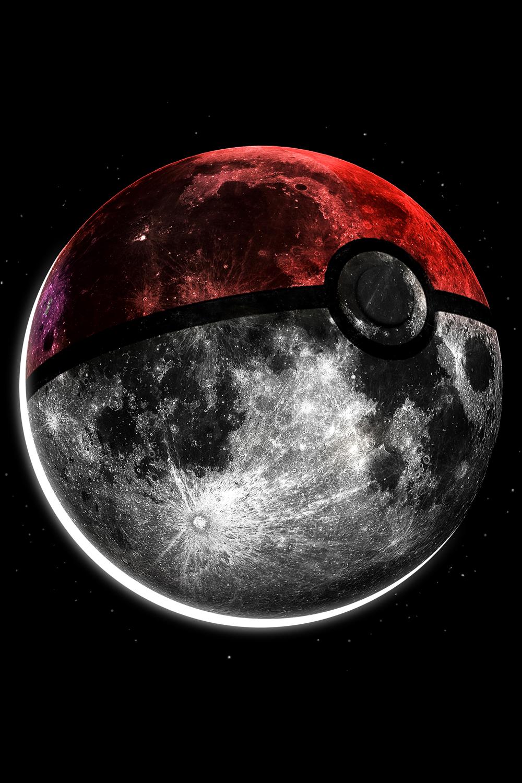 the moon mocked to look like a pokeball