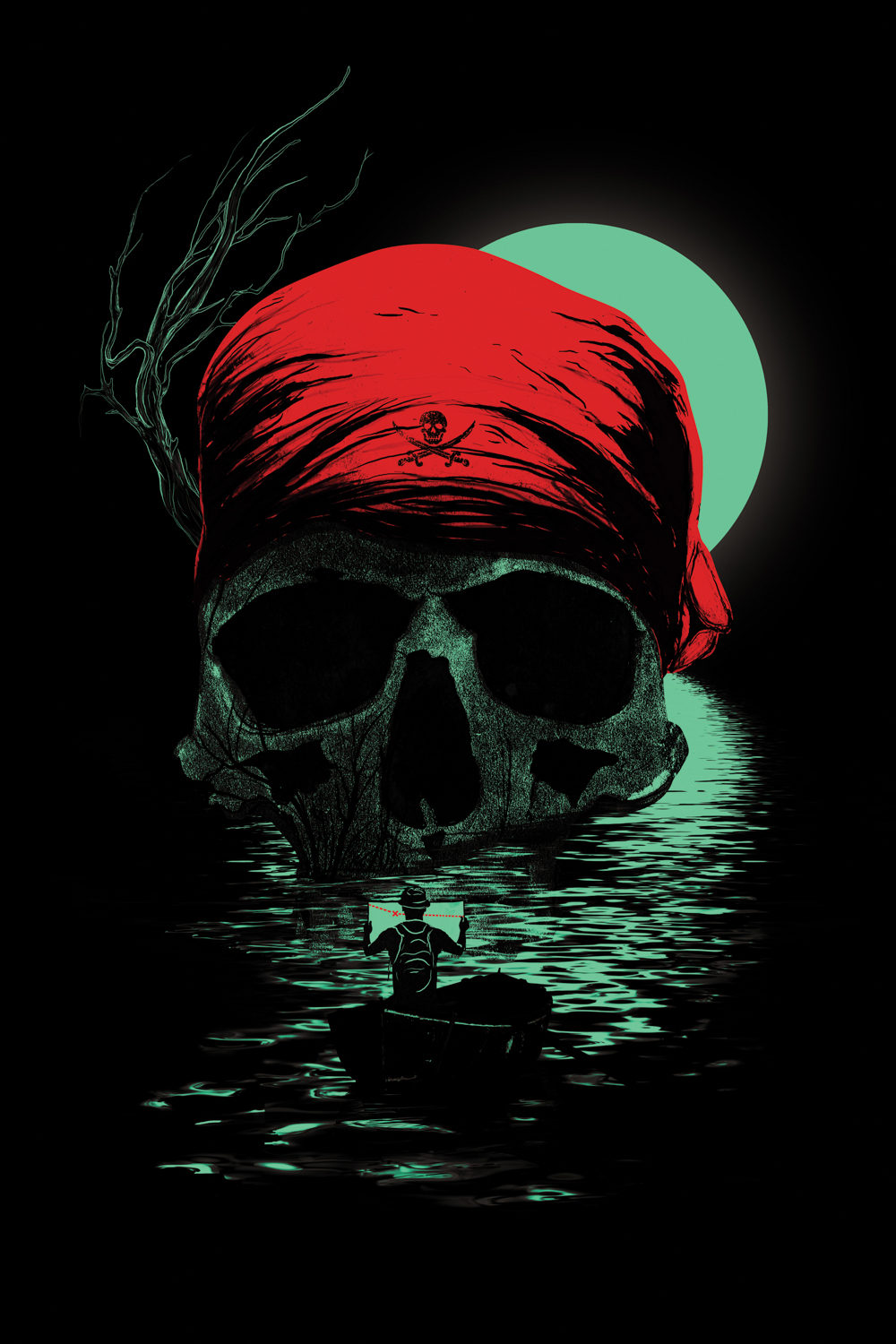 a large skull in the water wearing a red bandana with a person in a boat holding a map