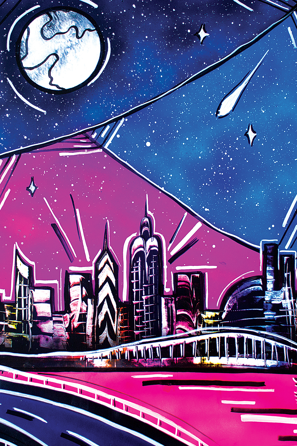 a drawing of new york in blue and pink that shows the moon and stars