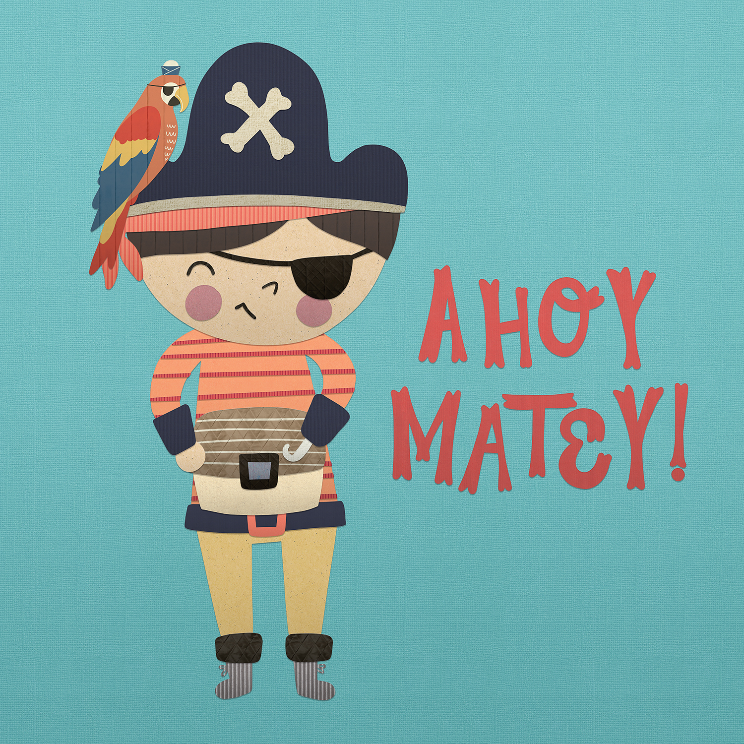 "a kid dressed in pirate gear with a parrot on their hat that says ""ahoy matey!"""