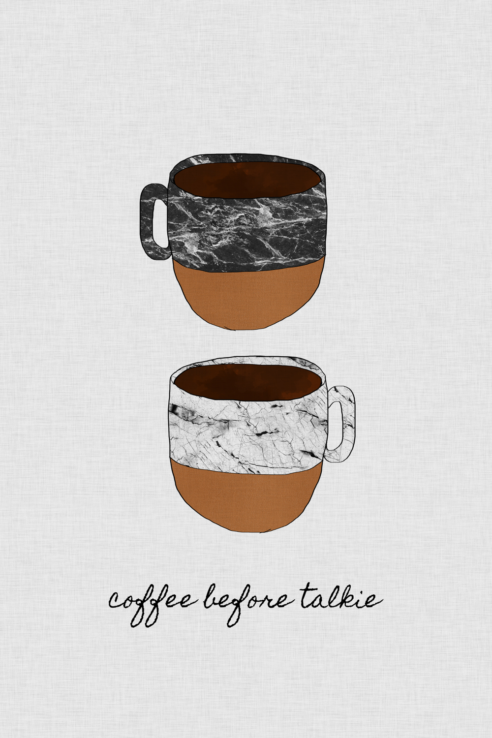 "two stacked mugs with marbled tops and brown bottoms with text reading ""coffee before talkie"""