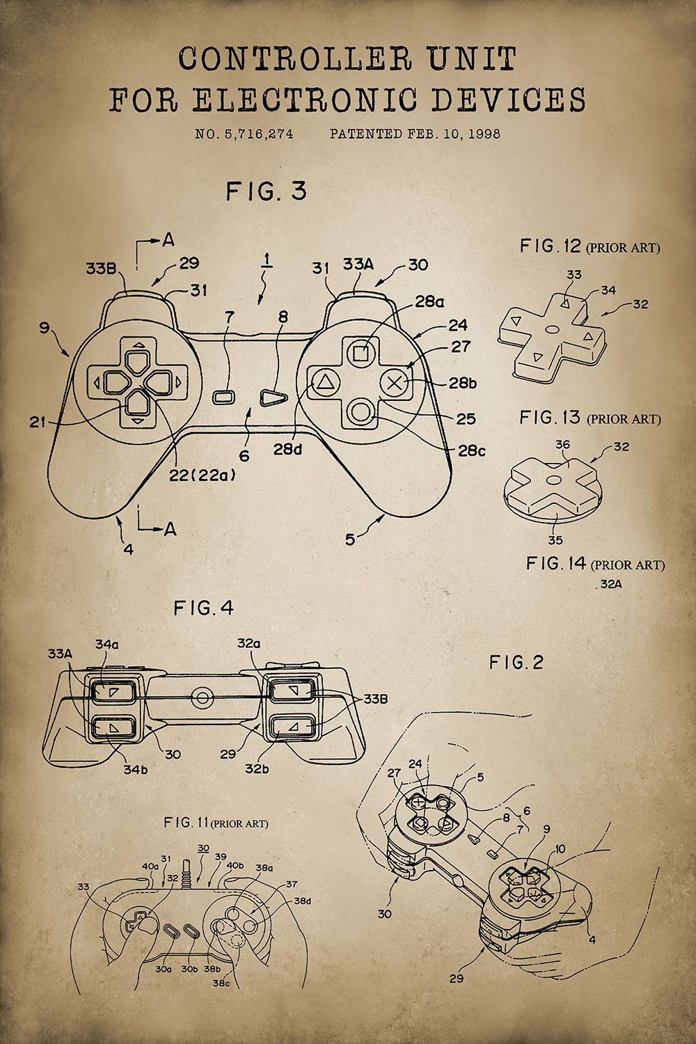 the offical patent design of the playstation controller