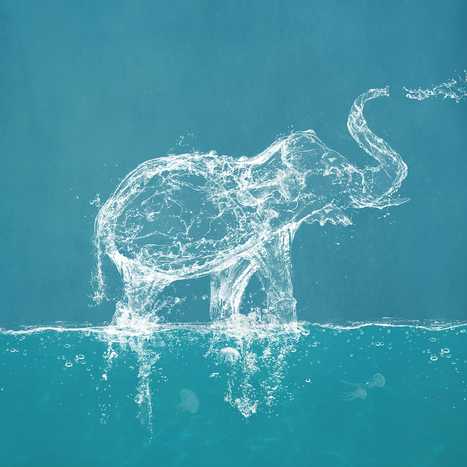 the shape of an elephant blowing water out of its trunk made completely out of water splashes