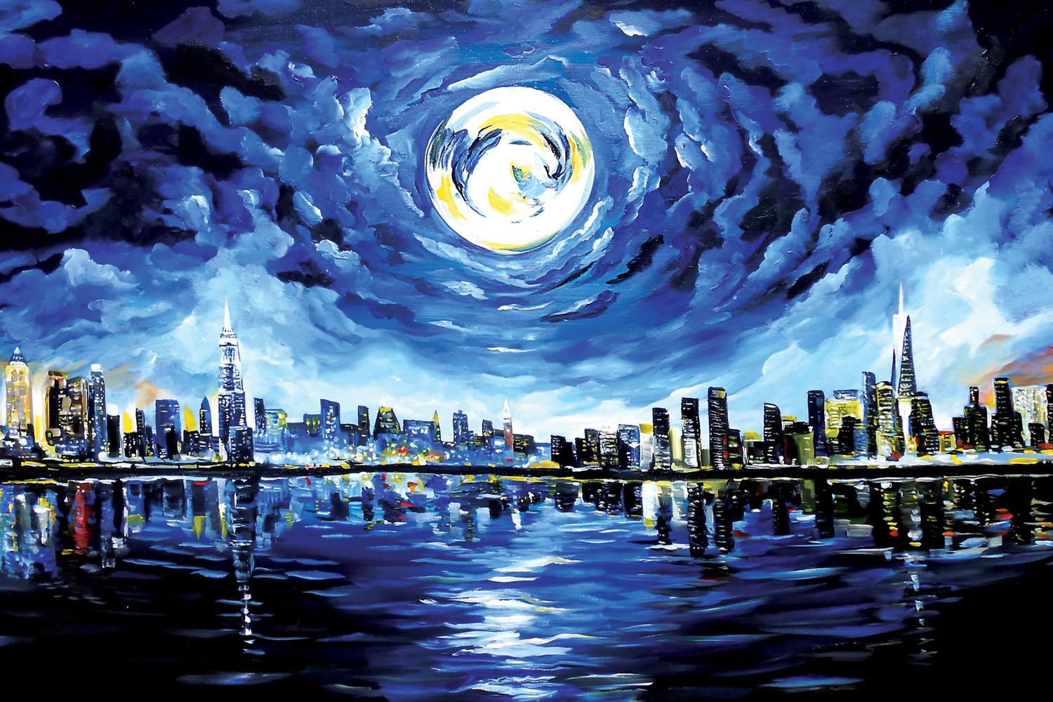 a painting that shows the new york skyline, its reflection in the water, and a full moon
