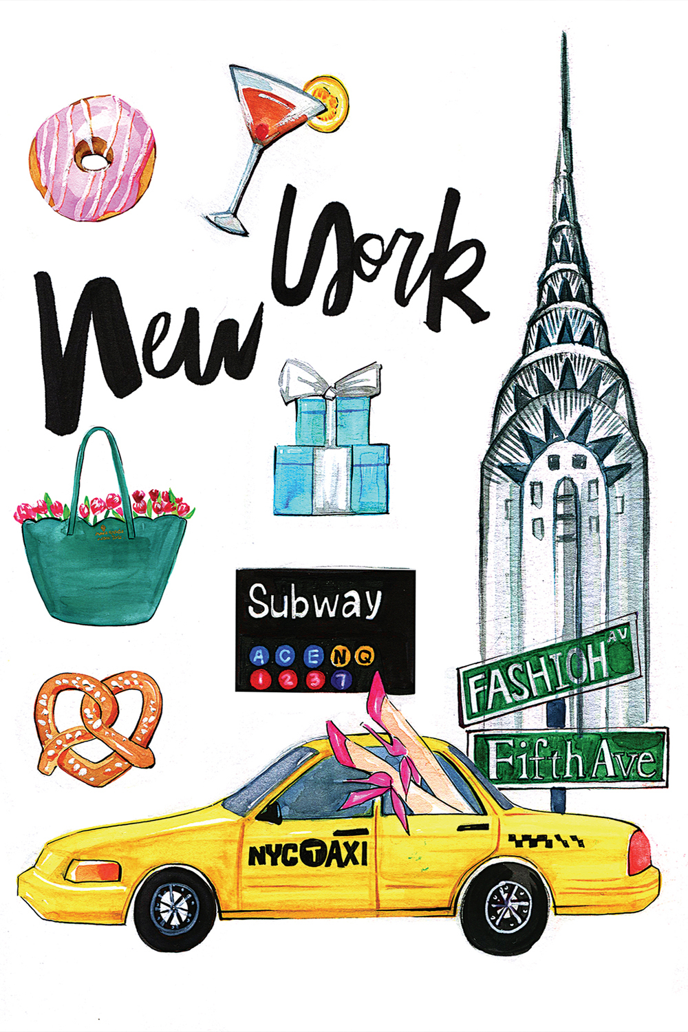 "a print with the words ""new york"" that includes a martini, tiffany boxes, a subway sign, a street pretzel, a woman's pink heels sticking out of a cab window, and the crysler building"
