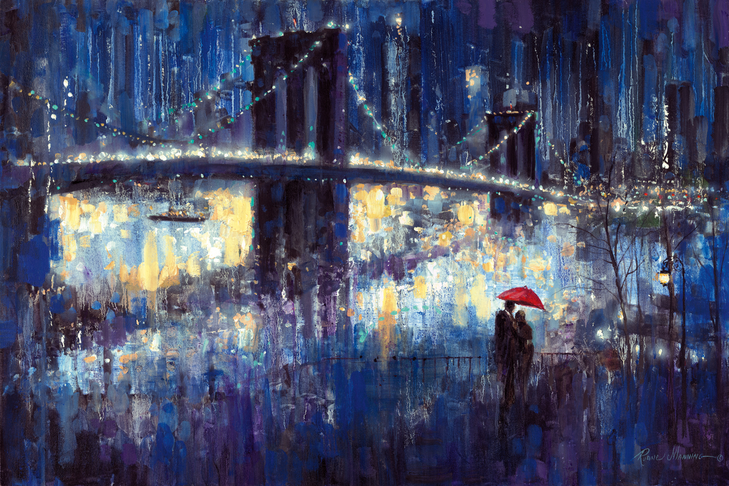 a couple standing under a red umbrella at night looking towards the brooklyn bridge and city skyline