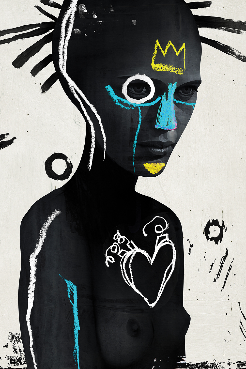 a woman shadowed in black with bright white, yellow, and blue markings painted on her