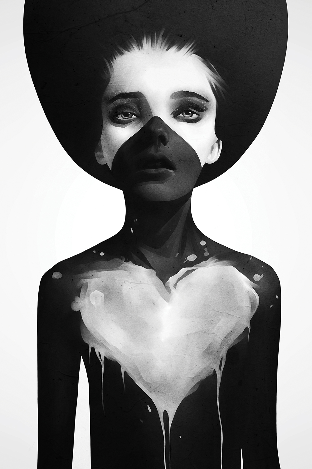 a girl shadowed in black with a gray heart painted on her chest