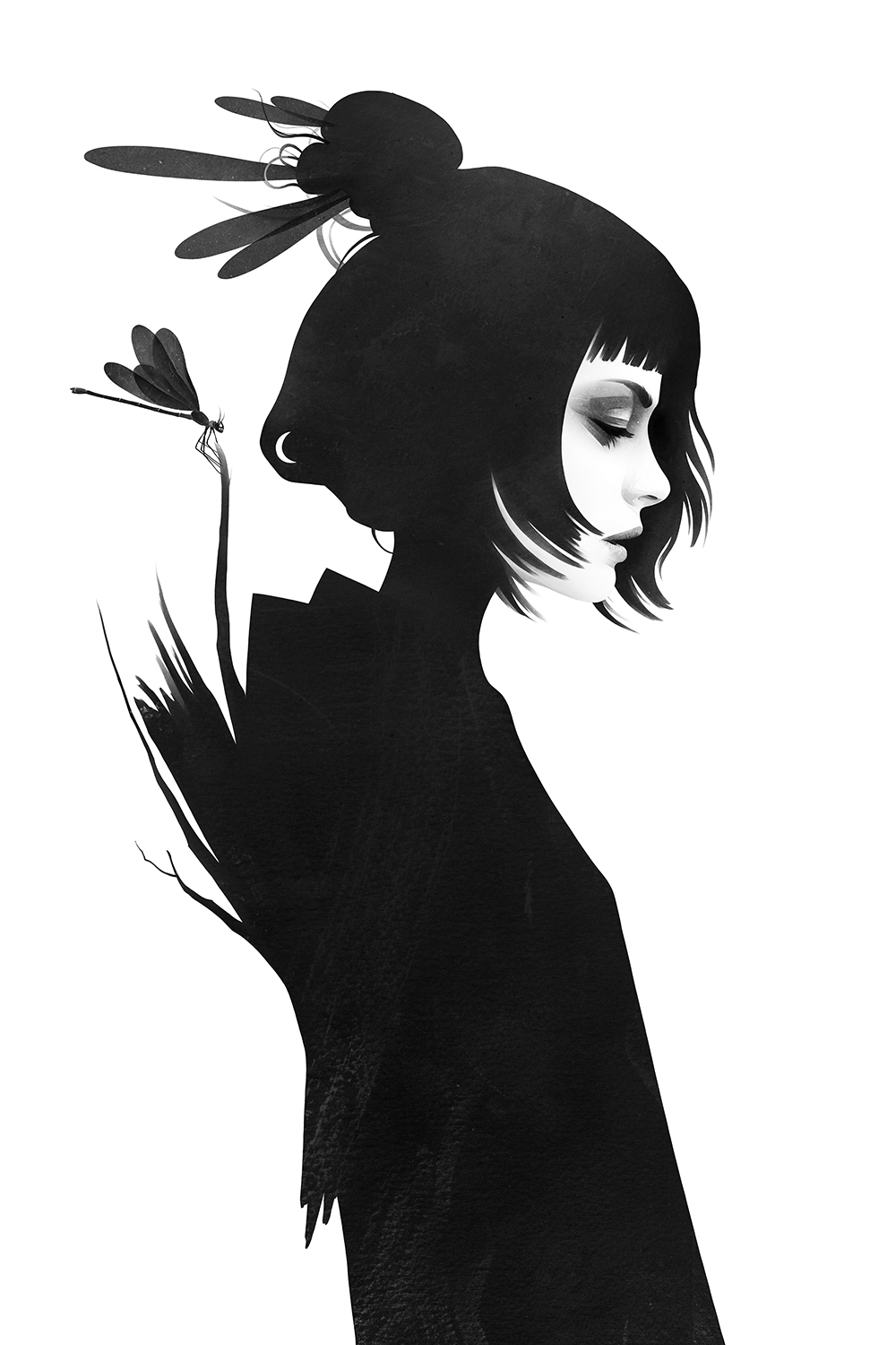 a woman shadowed in black with a dragonfly behind her